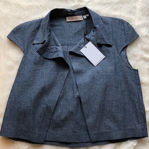 Collared denim colored shirt